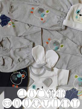 تصویر از پوشاک اولیه نوزاد (برای هر سایز حداقل دو سرویس )